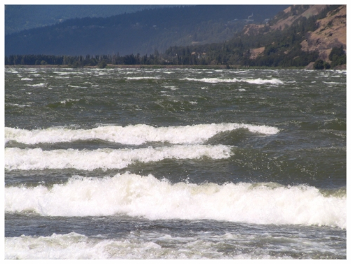 Wind surfers like waves this size, canoeists not so much.    (Photo courtesy of Big Winds, in Hood River, OR.)