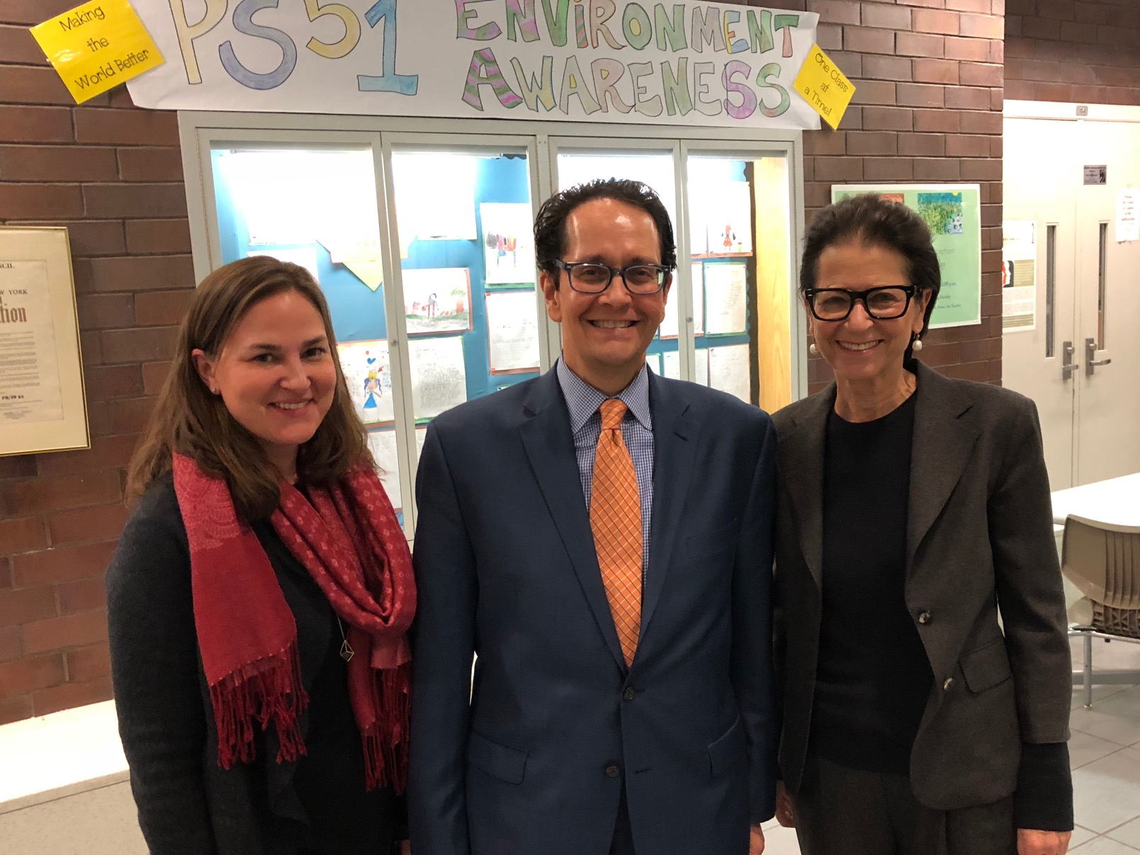 Kate Alcorn from The Fund, Paul King from the DOE Office of Arts & Special Projects, and major arts supporter Jody Gottfried Arnhold.