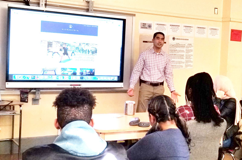 Raymond Lem spoke about his IT work at  Alexandria Real Estate Equities  to a class at Manhattan International High School.
