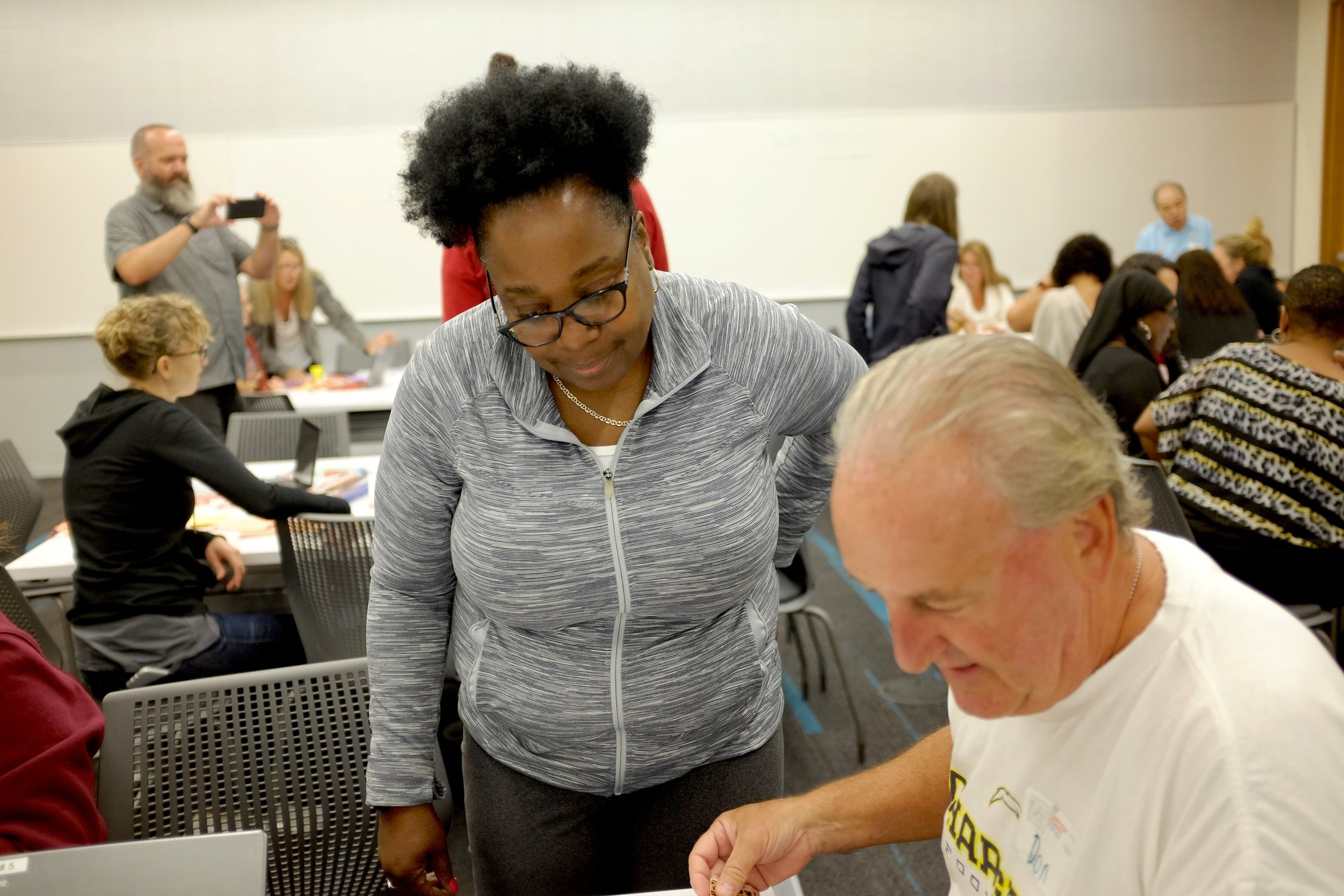 Cecelia Holt-Washington (left) supporting an activity at the SEPjr. training