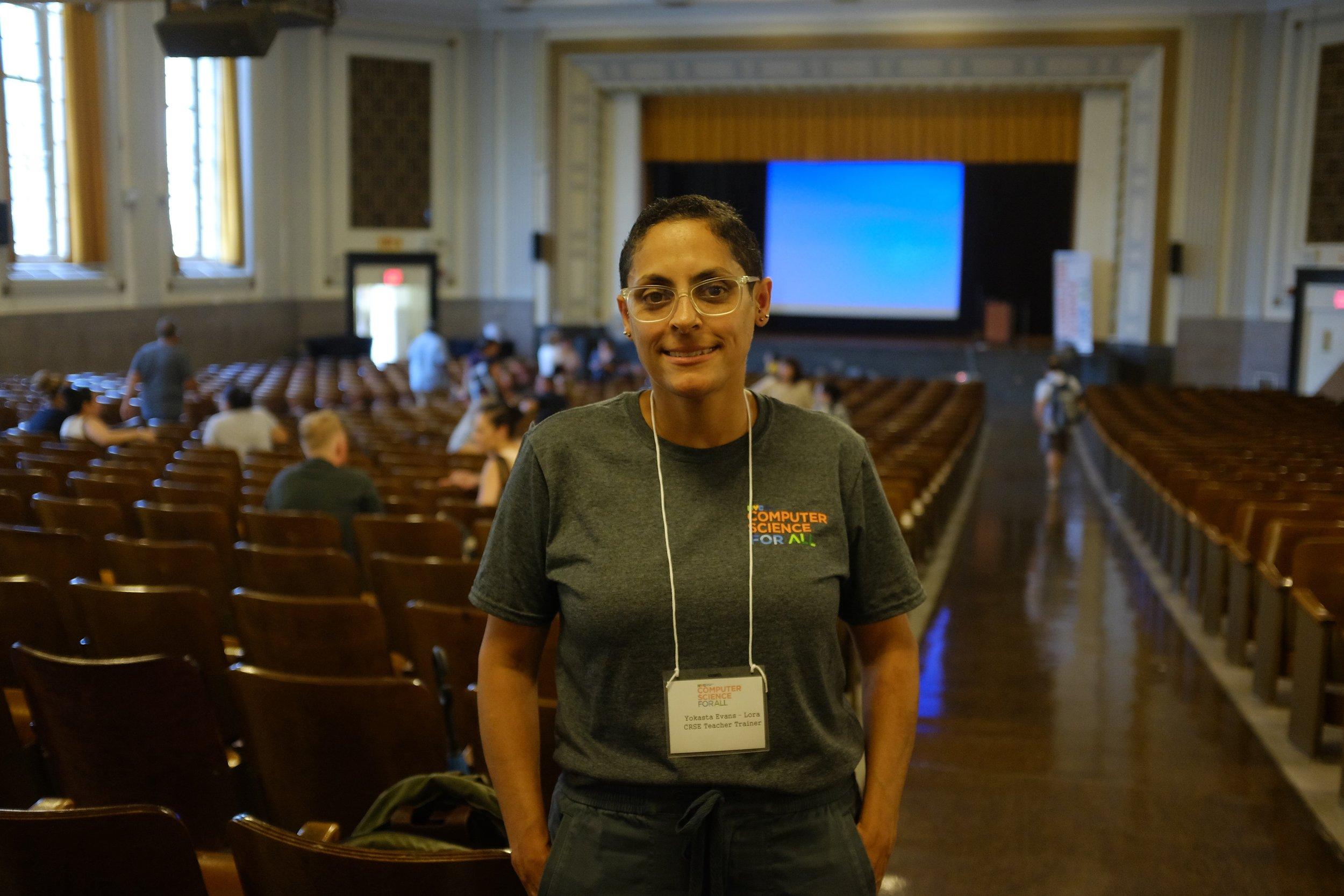Yokasta Evans-Lora teaches at Brooklyn Arbor Elementary School and led CS trainings on culturally responsive pedagogy at the CS Institute