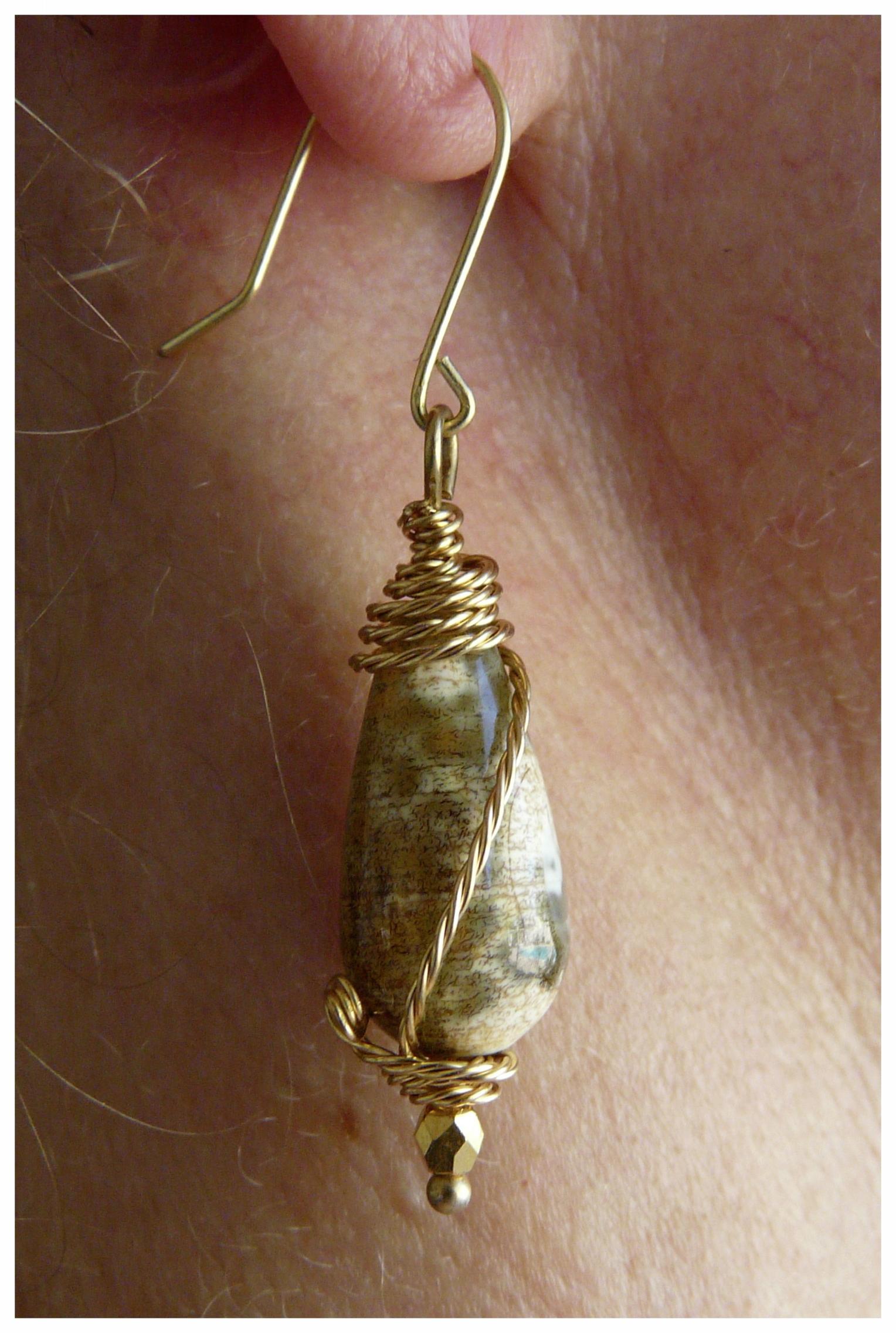 Gemstone Wire Wrap Earring