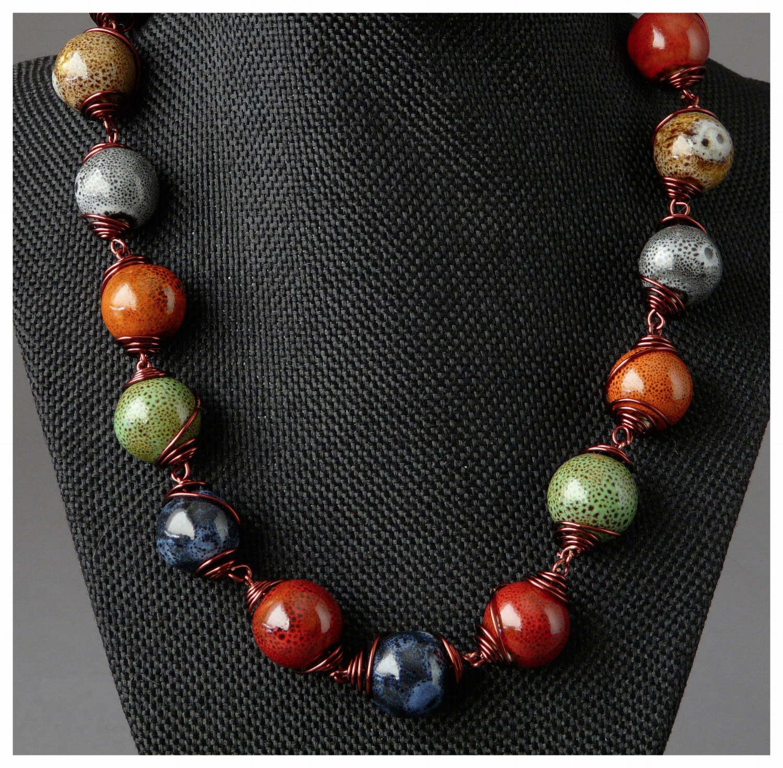 Ceramic Wire Wrap Necklace