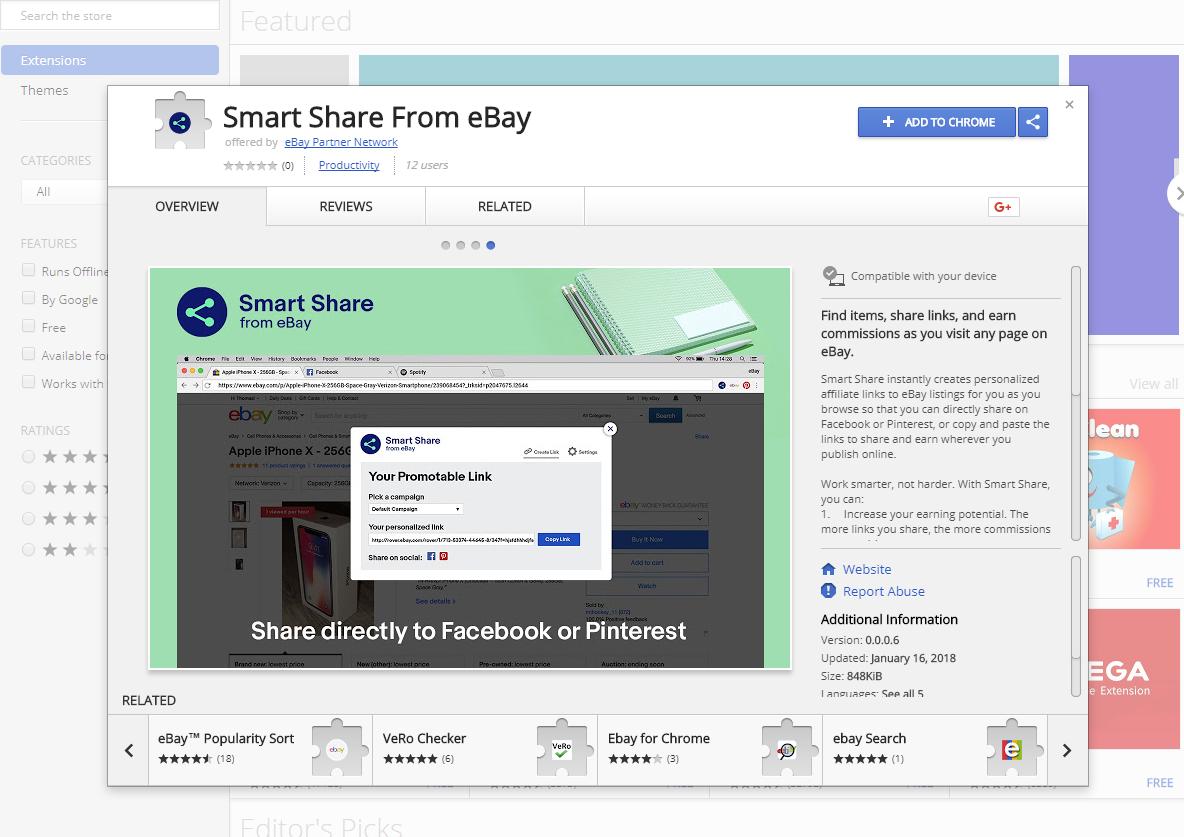 Captura de pantalla de la extensión de la tienda de extensiones de Chrome mostrando la extensión Smart Share de eBay Partner Network.]