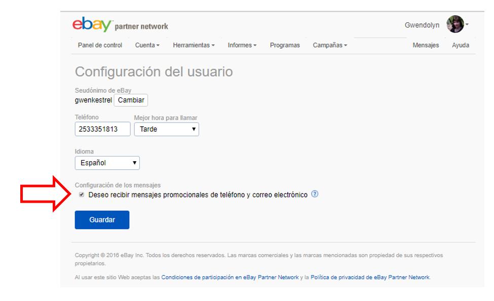 Captura de pantalla que muestra la casilla para cancelar la suscripción en a mensajes promocionales en una cuenta de EPN]
