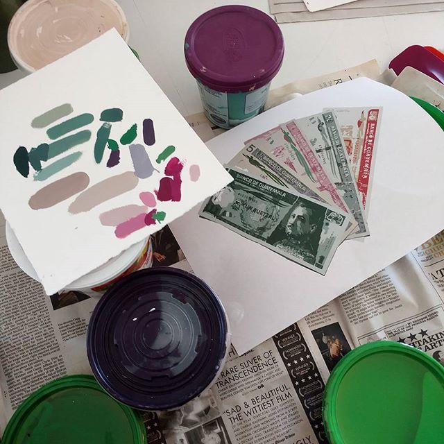 Working on mixing inks. Again. #art #artresidency #printmaking #screenprinting #colorpalette #colors