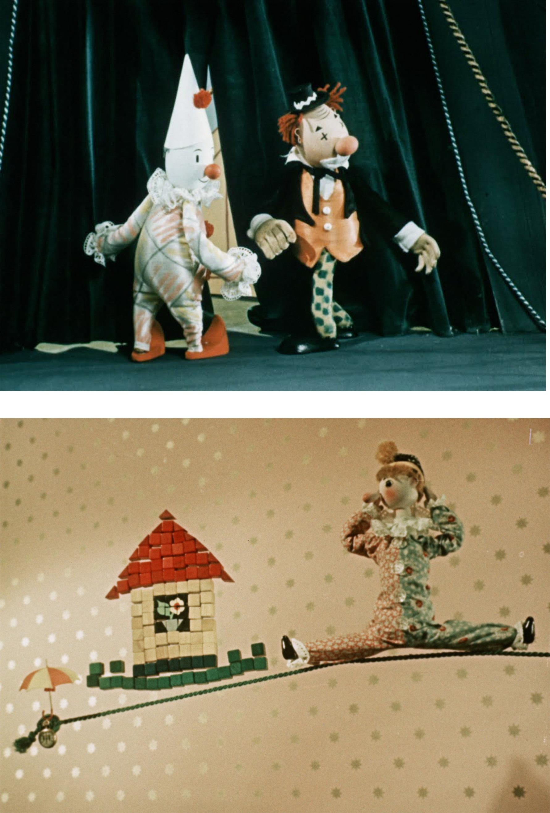 IMAGES: (top) Mister Prokouk, Acroba t, dir. Karel Zeman, 1959. (bottom) The Little Umbrella , dir. Břetislav Pojar, 1957.