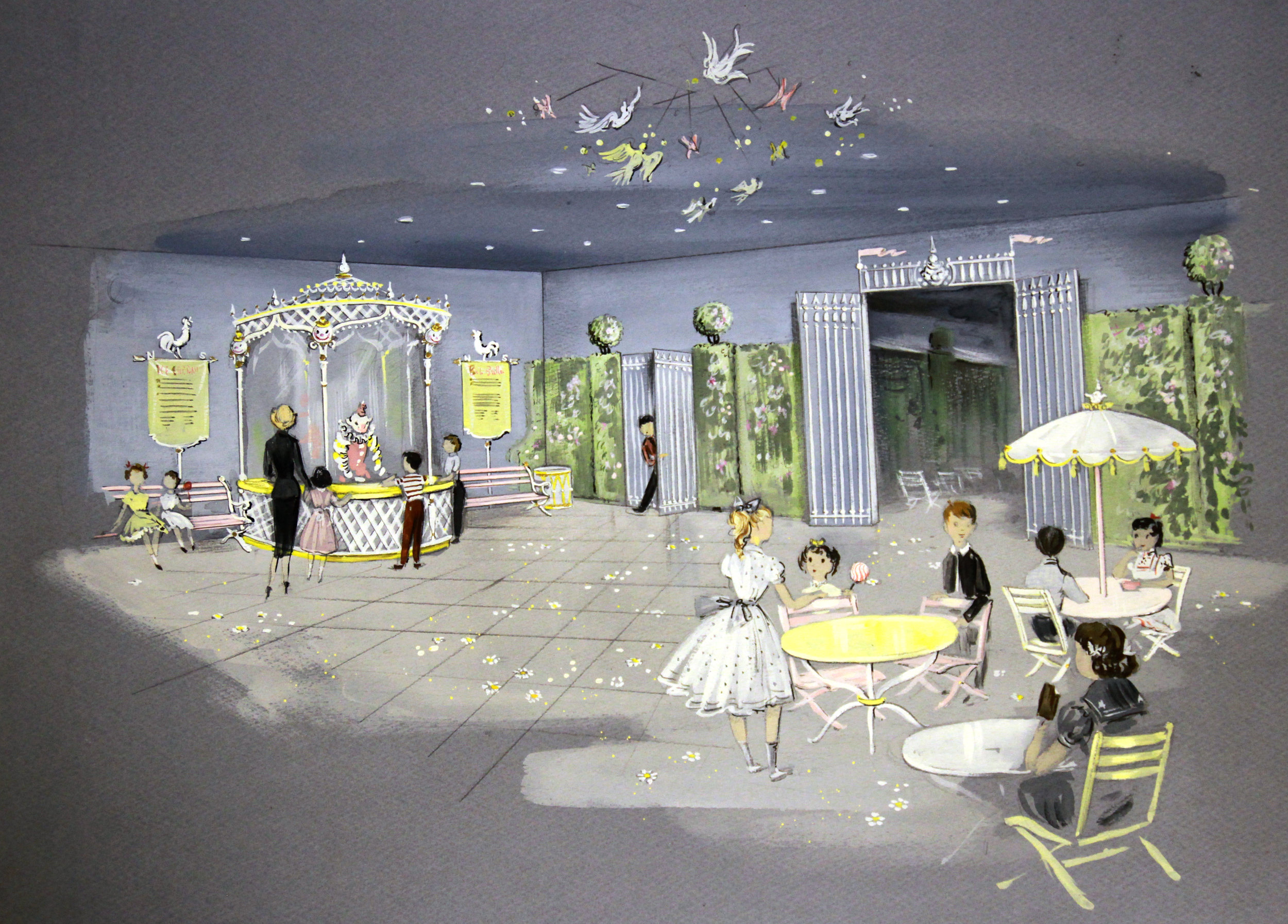 """Original concept drawing of the Bob Baker Marionette Theater """"Party Room"""" c. 1960."""