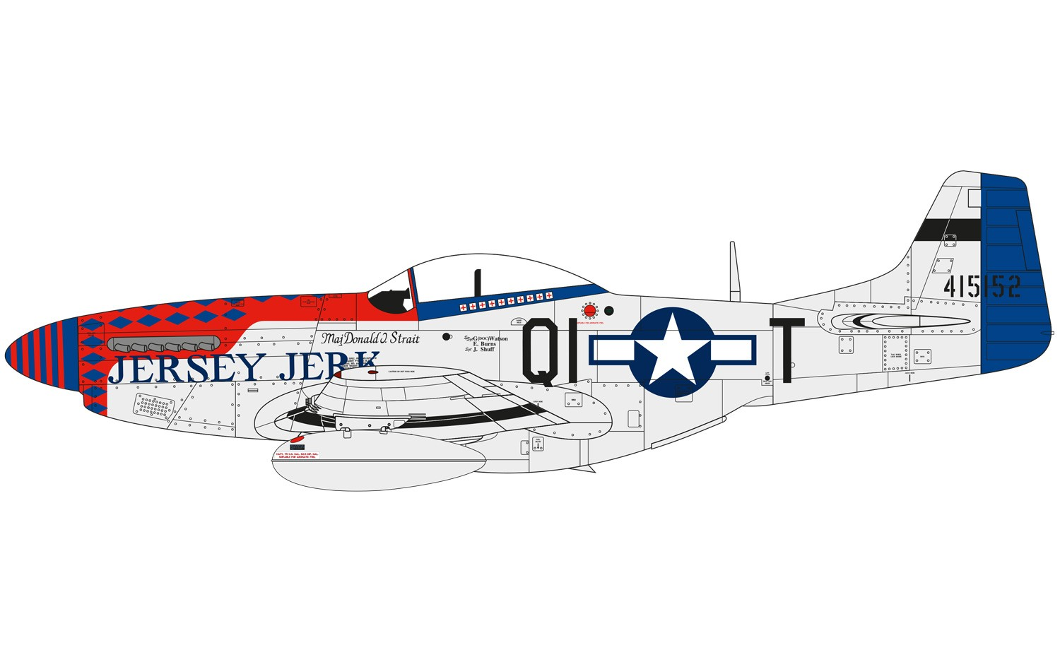 P-51D, 44-15152, 'Jersey Jerk', Captain Donald Strait, 361st Fighter Squadron, 356th Fighter Group, United States Army Air Force, RAF Martlesham Heath, Suffolk, England, 1945