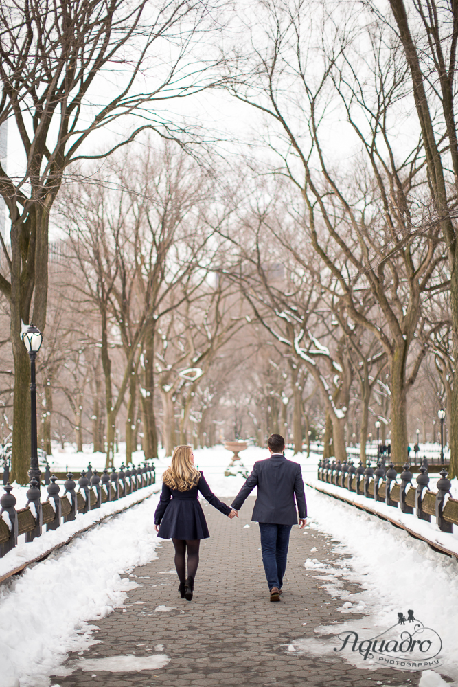 engaged couple holding hands while walking The Mall in Central P