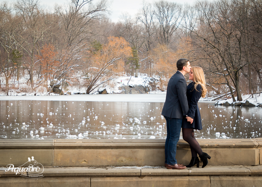 engaged couple kissing by Bethesda Fountain