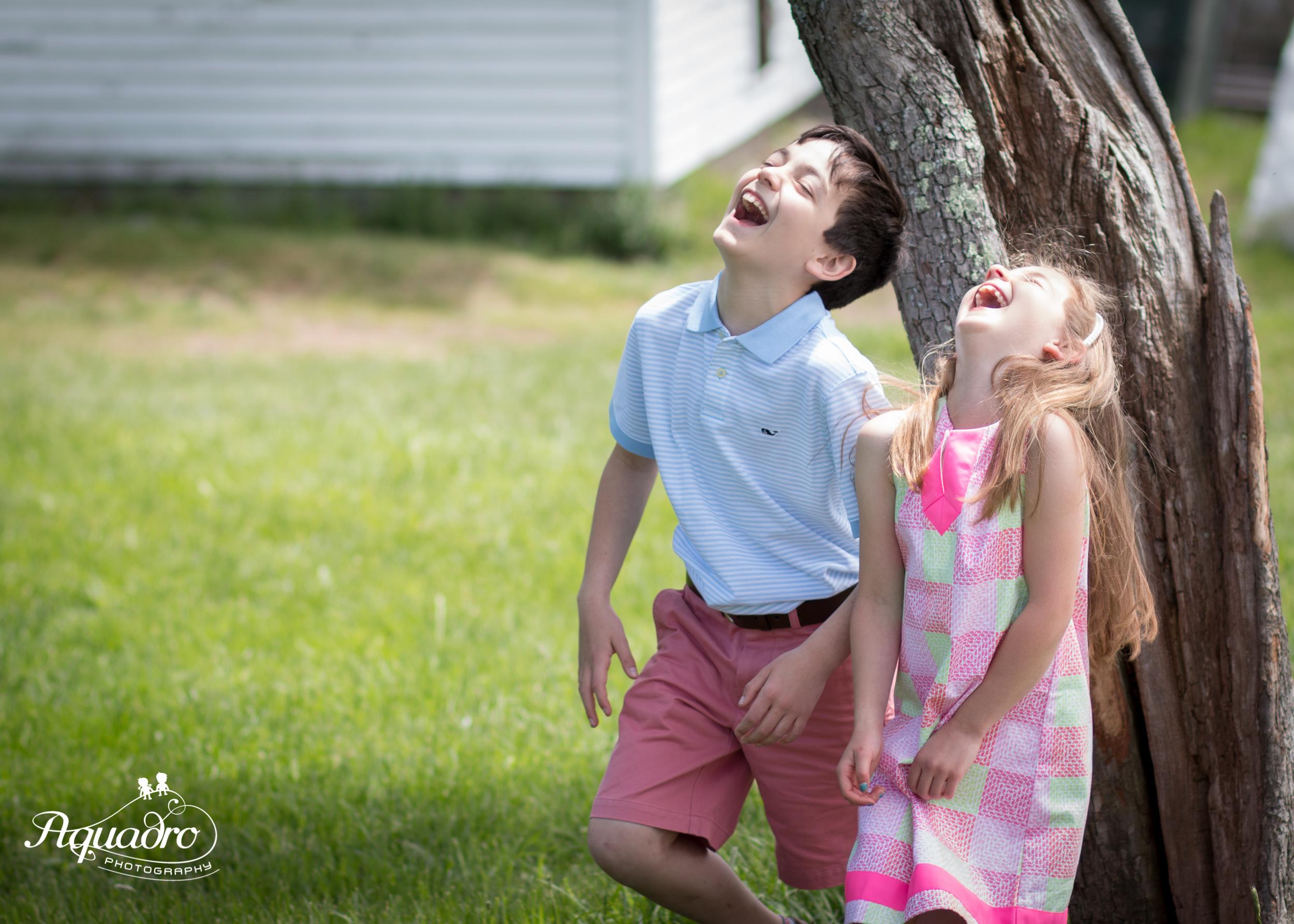 Laughing Siblings