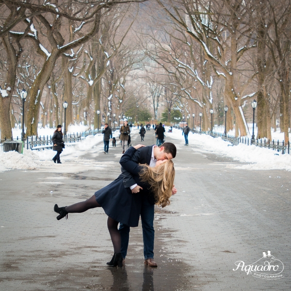 A kiss and a dip on the Mall in Central Park