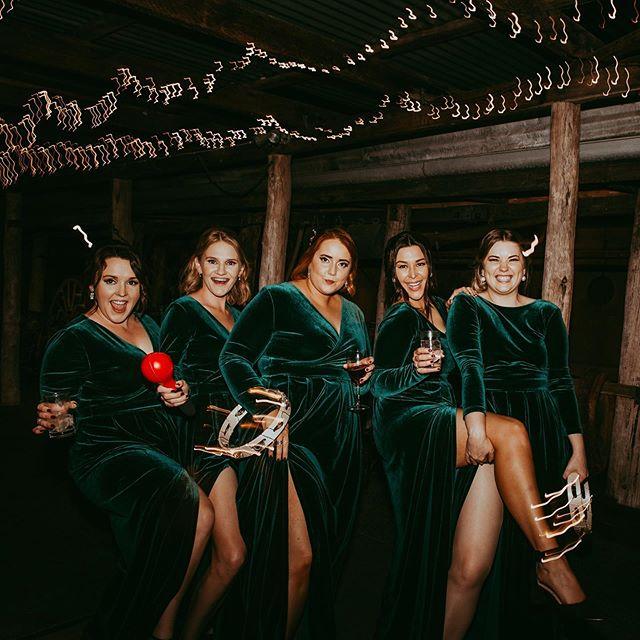Emerald Green Velvet bridesmaid dresses and electric tambourines....💥