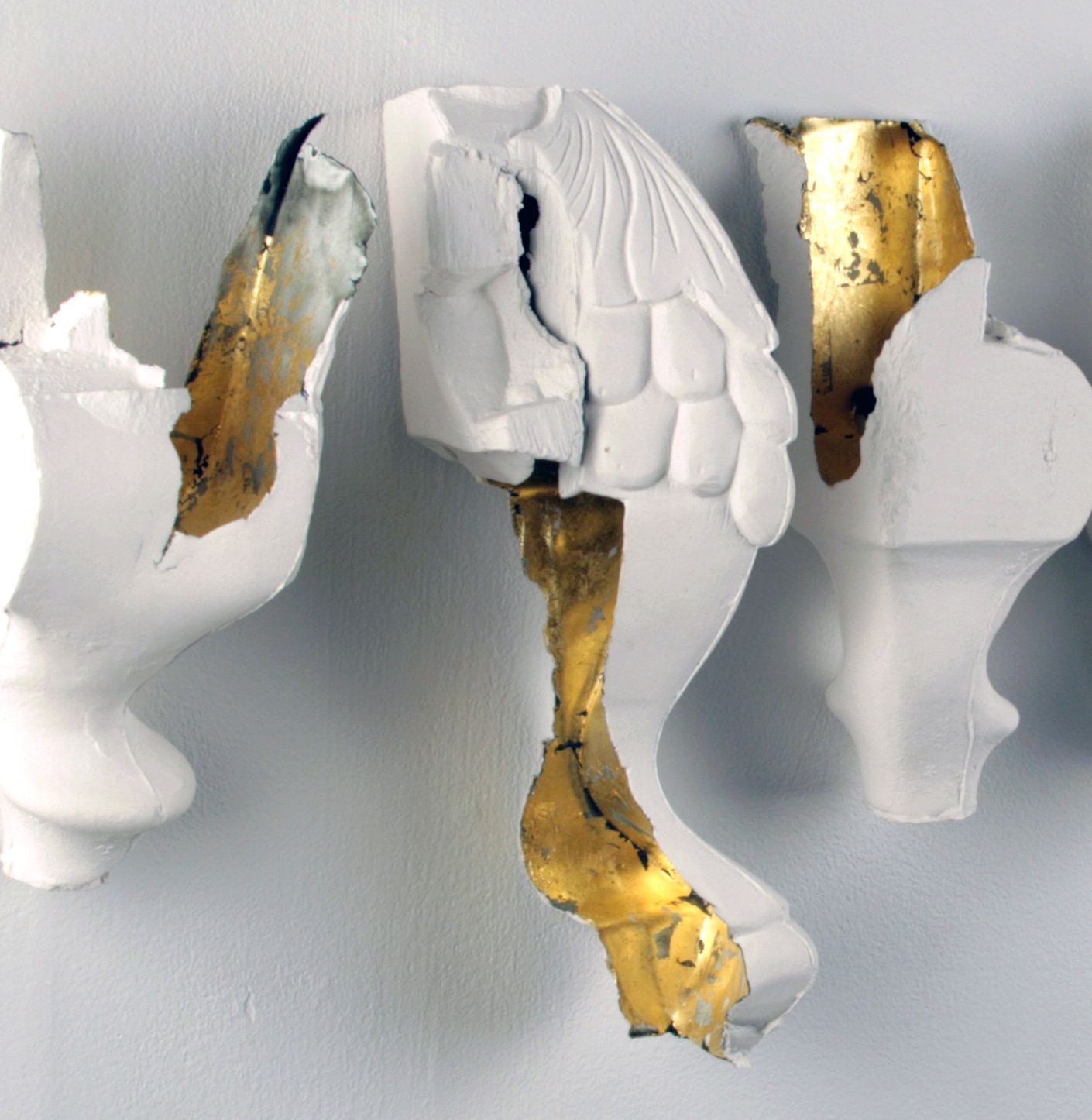 WHAT GETS KEPT (detail) - porcelain / slip-cast / gold leaf / 2013
