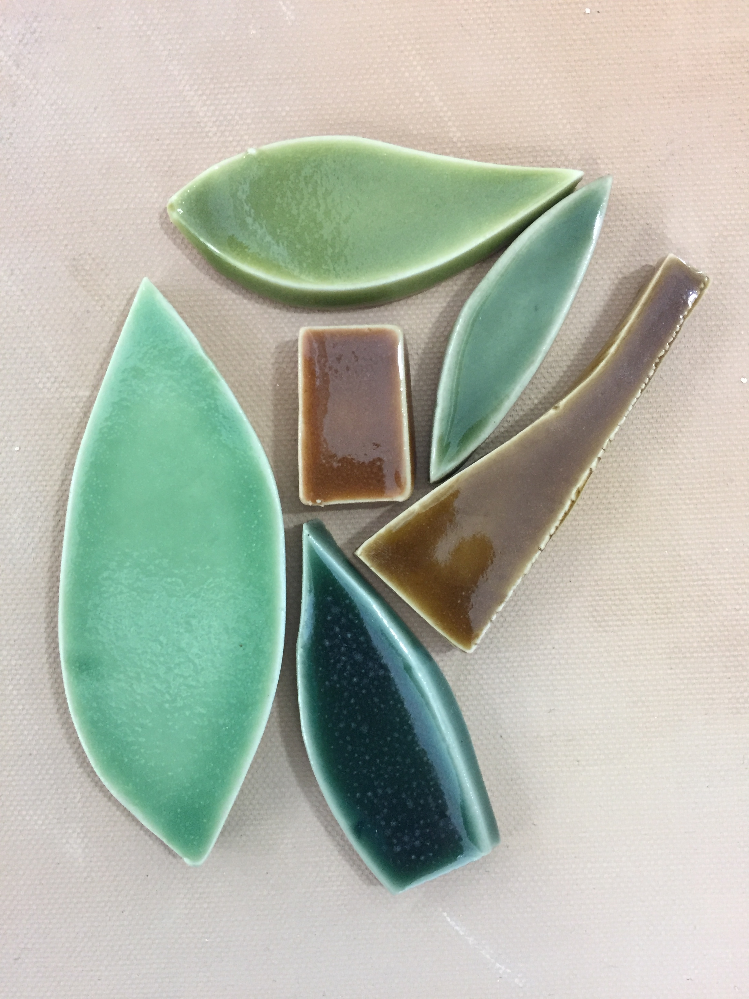 A collection of glaze colors for the mosaic.