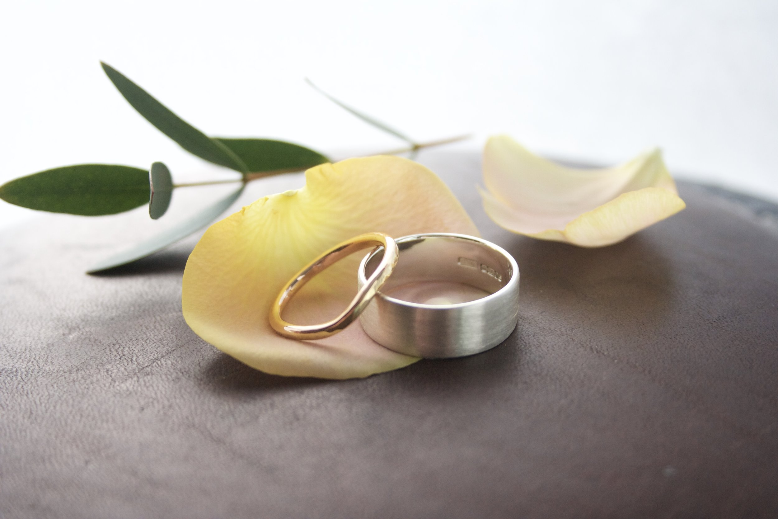 Wedding Rings workshop - gold rings handmade here by workshop participants.