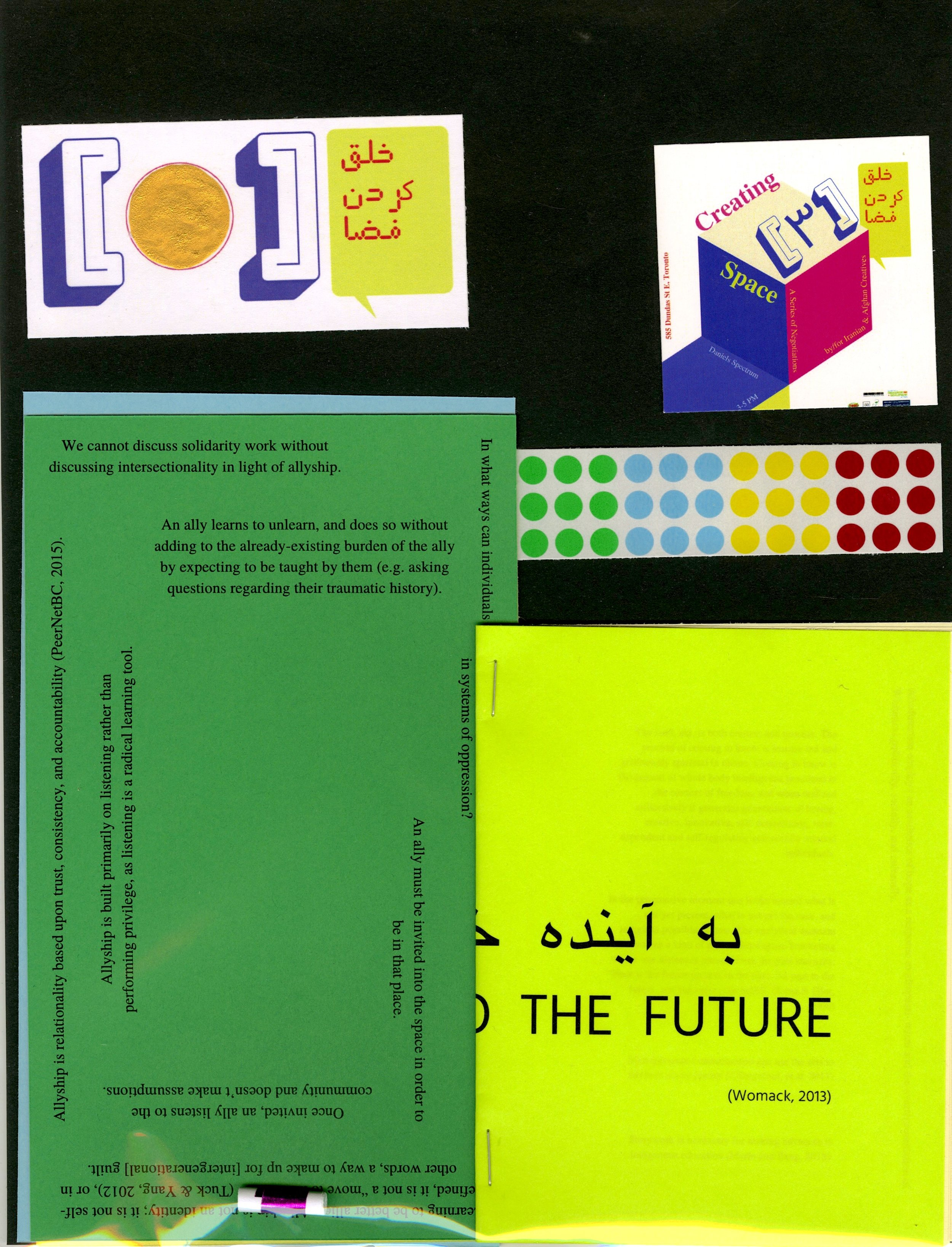 The 'zine toolkit' is user-­generated content aimed to raise awareness about knowledge production. Designed initially to accompany the presentation and hands-­on portion of the workshop, this toolkit on its own serves as an autodidact activity.  Translations by Mehregan Meysami.   Available at Bazar Art Book Fair 2020.