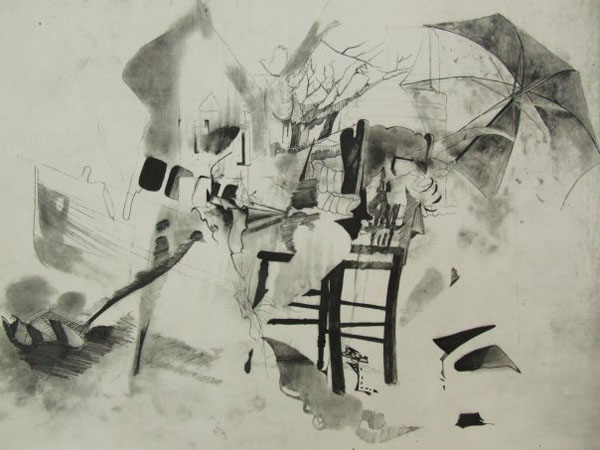 "Untitled , 2010   22"" x 30""  Photogravure, Chine Colle"