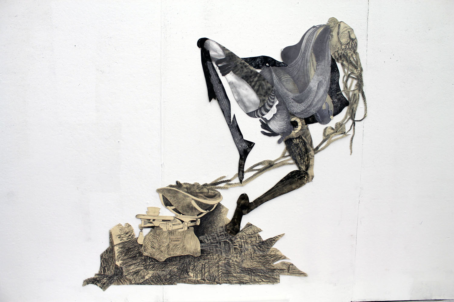 """Passed Standards, 2012    50"""" x 72""""  Graphite, Etching ink on archival board"""