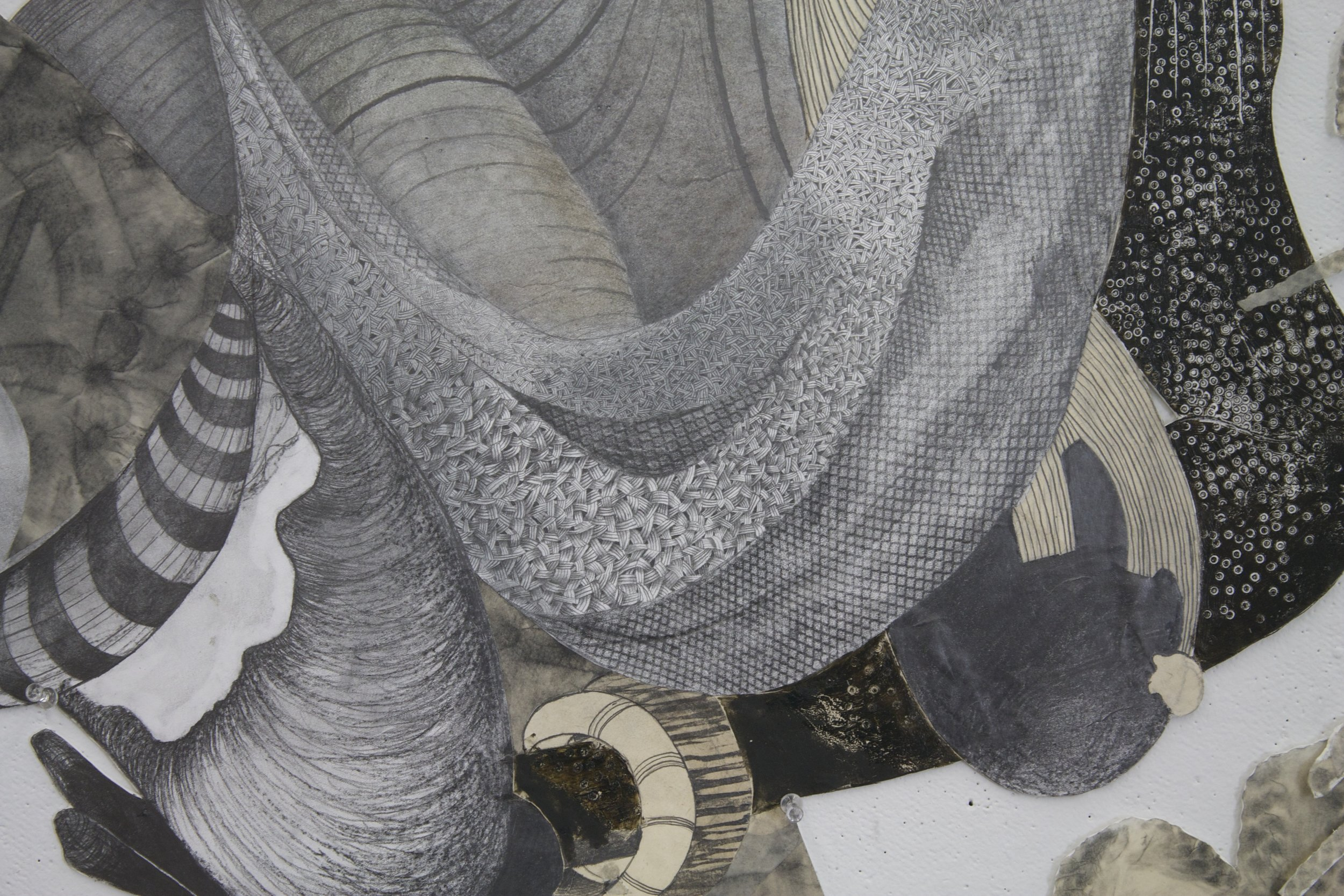 """Passed Standards-Detail, 2012    50"""" x 72""""  Graphite, Etching ink on archival board"""