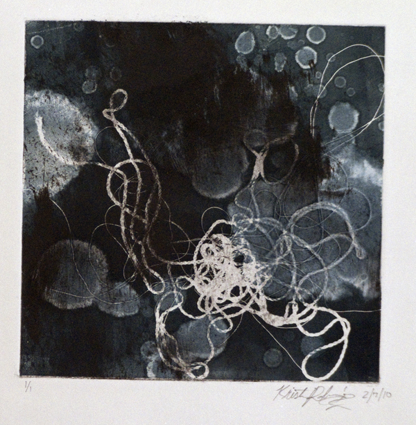 2. Monoprint using string.  Class: Strategic methods in conceptual printmaking/monoprint