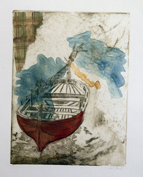 Drypoint, monoprint, chine colle (fabric and paper).  Class: strategic methods in conceptual printmaking/monoprint