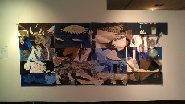 Collaborative installation: Full scale replica of Pablo Picasso's Guernica painting reimagined. Each student was responsible for a three foot panel, and utilized at least four methods covered in class( ie: line texture, value, color etc) Class:  Studio Foundation