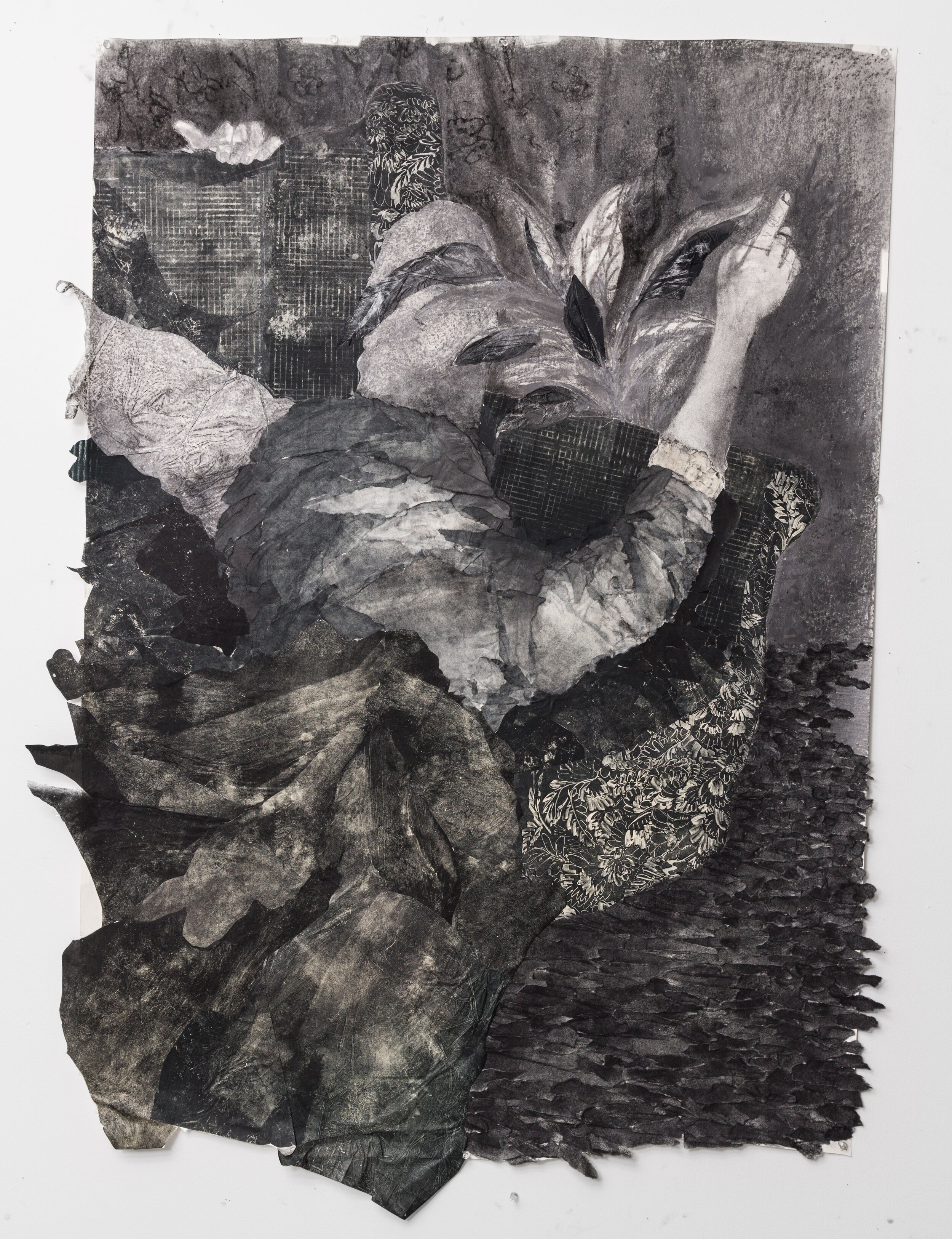 "Between Mary Jane's shrouded thoughts  36"" x 48""  2018  Collagraph print, monoprint and graphite on paper."