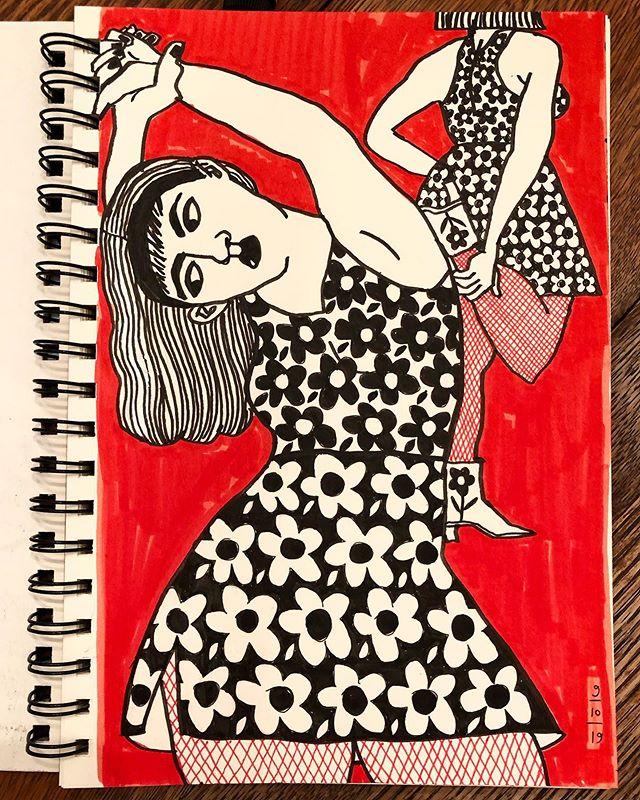 Stretch sketch. . . . . #art #artist #artpractice #contemporaryartist #draw #drawing #dailydrawing #figure #flowers #fishnetstockings #habits #limitedpalette #markers #pattern #penandpaper #sketch #stretch #sketchbook #womanartist #workonpaper