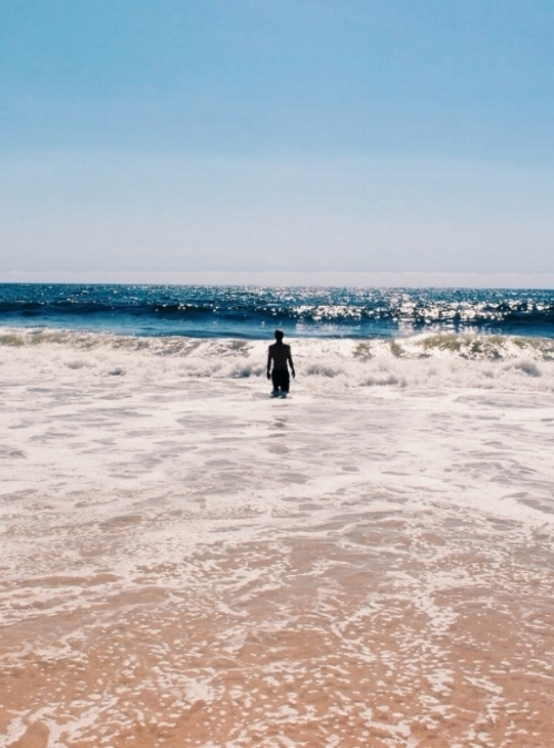 Ben swimming on the NSW coast