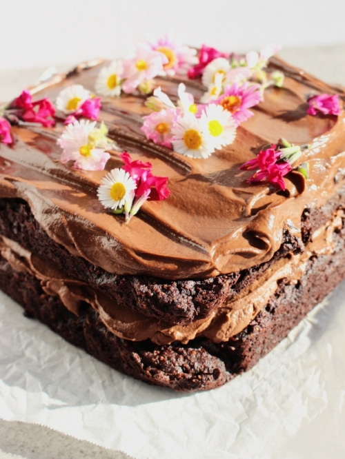 Plant-based chocolate cake - the double layer version.