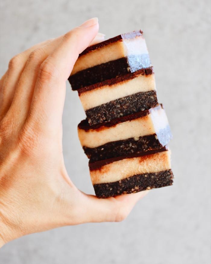Raw Caramel Slice stack