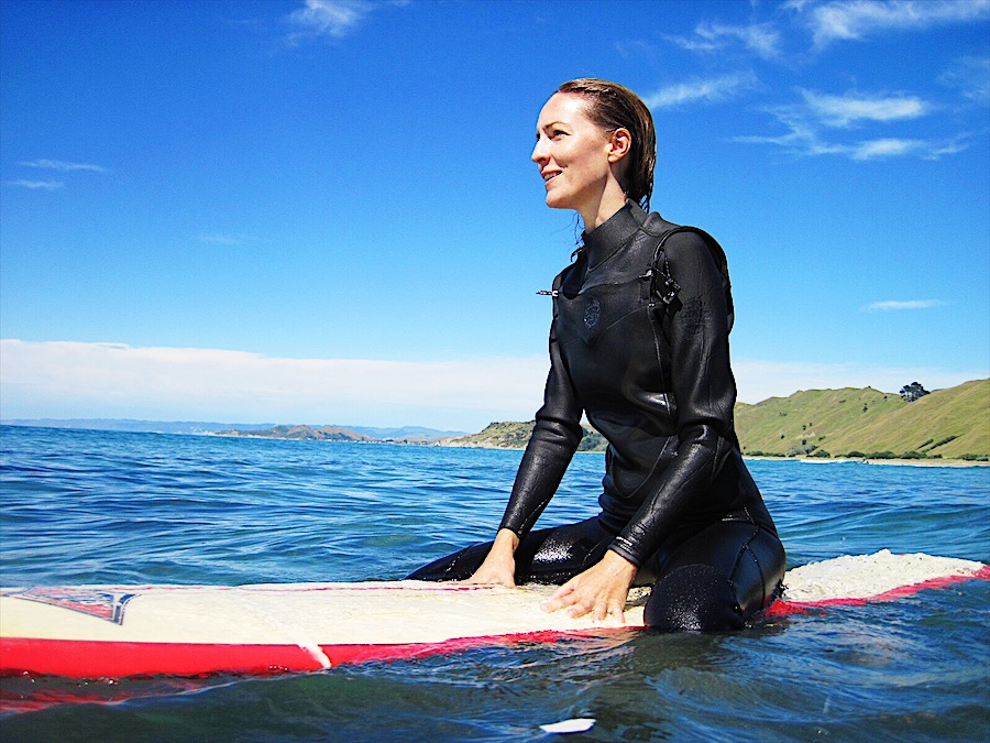 Learning to surf in New Zealand