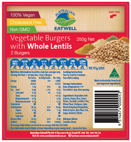 Eatwell Canola Oil free Vegetable Patties - OMS friendly