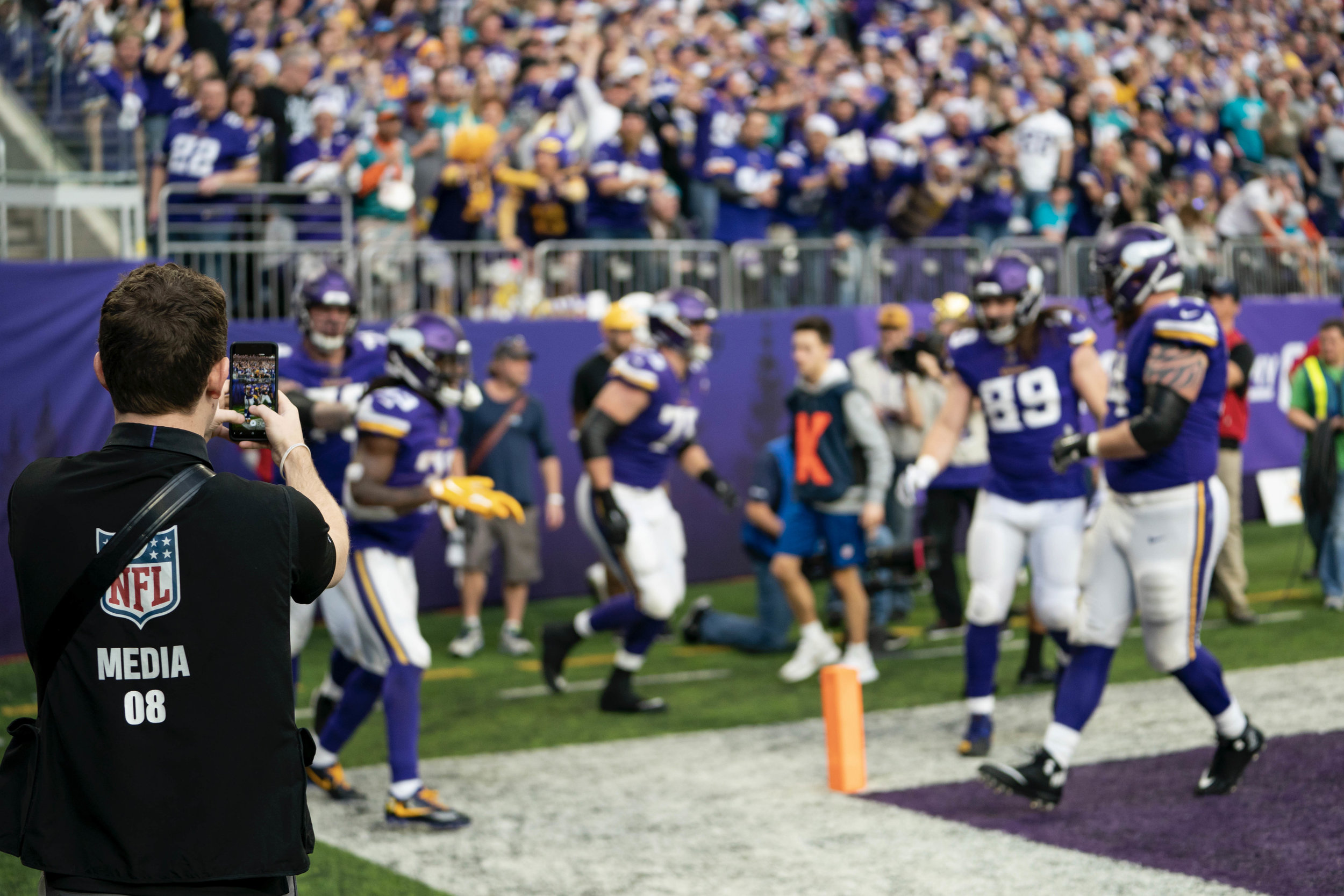 NFL Senior Live Content Correspondent - As the Senior Live Content Correspondent for the Minnesota Vikings, my job is to capture social content (photos, videos, interviews, etc.) requested by the NFL, Minnesota Vikings, and away teams. This content is then shared with the NFL, NFL affiliates, and respective clubs for real-time social media marketing and promotions.