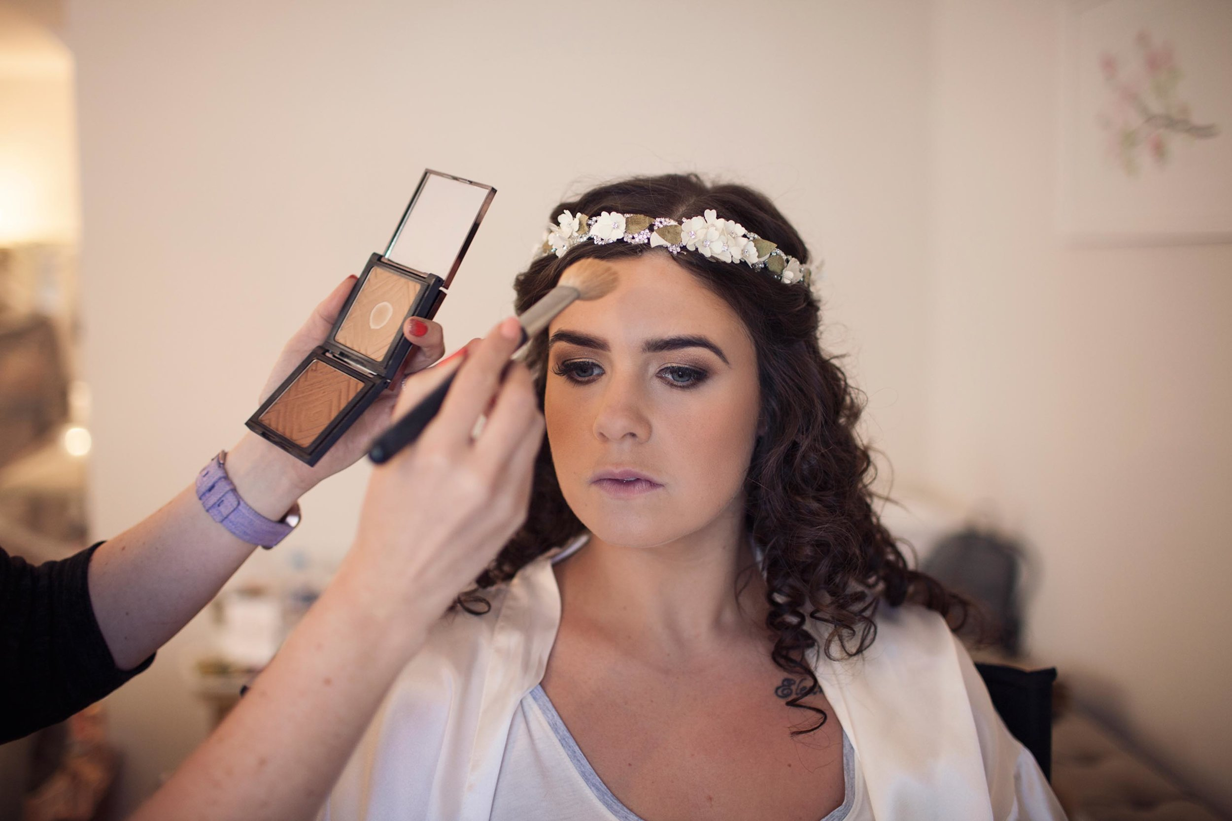 Cheshire wedding photographer bridal prep makeup bride photography