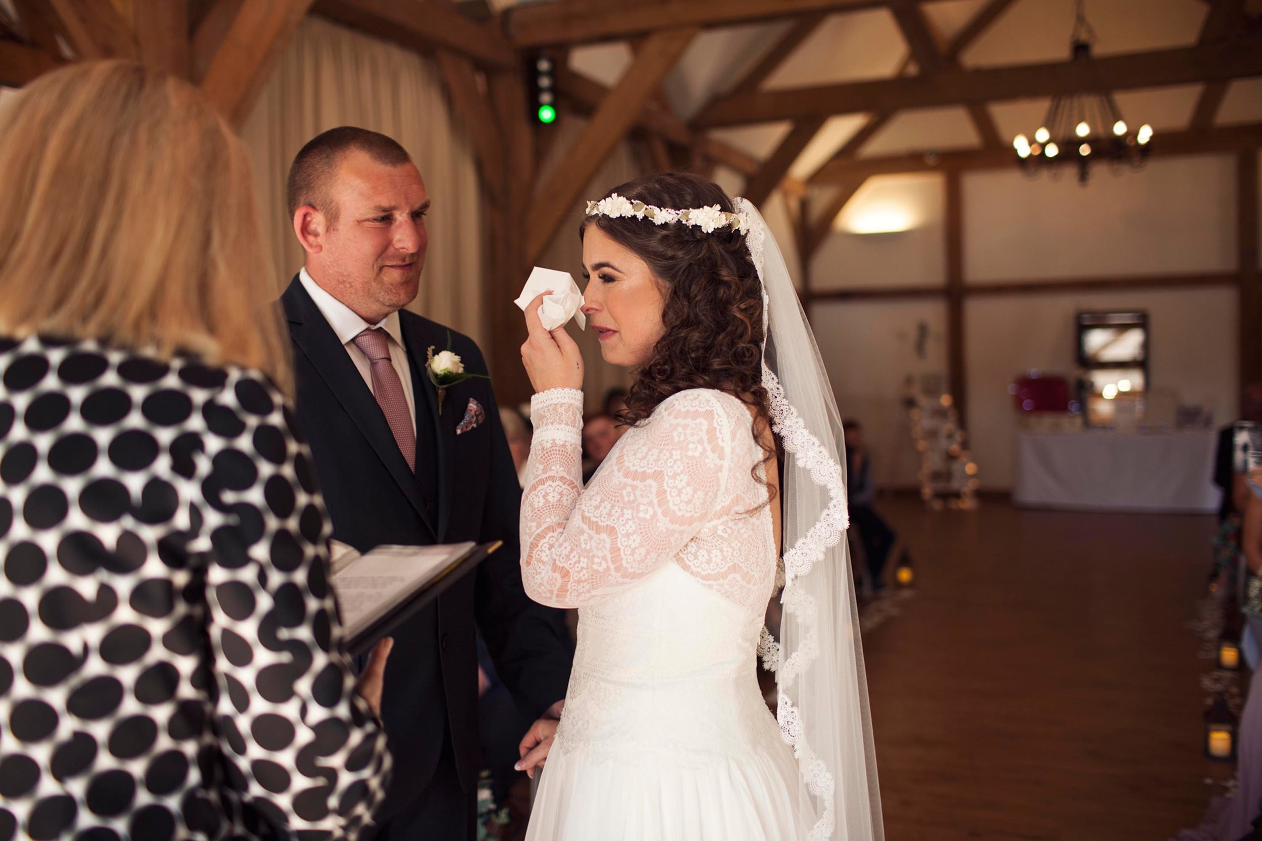 Crying and laughing bride on her wedding day