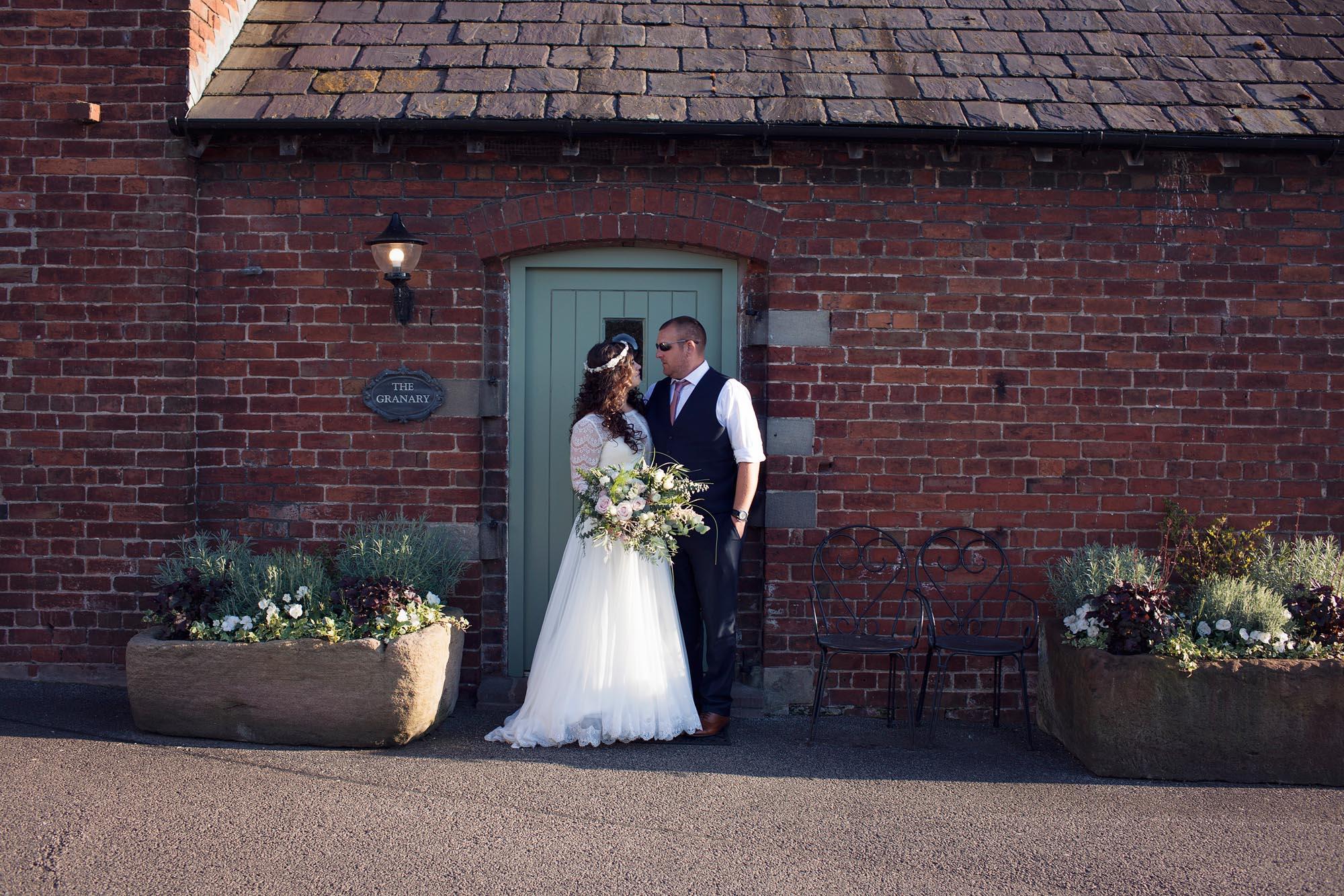 bride and groom portraits at sandhole oak barn cheshire