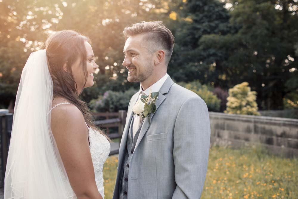 Bride and groom portraits from their DIY wedding in Preston Lancashire