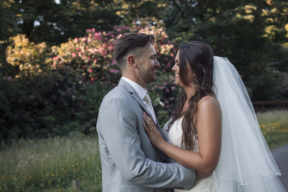 Photography Couples portraits during golden hour at they wedding in Preston Lancashire
