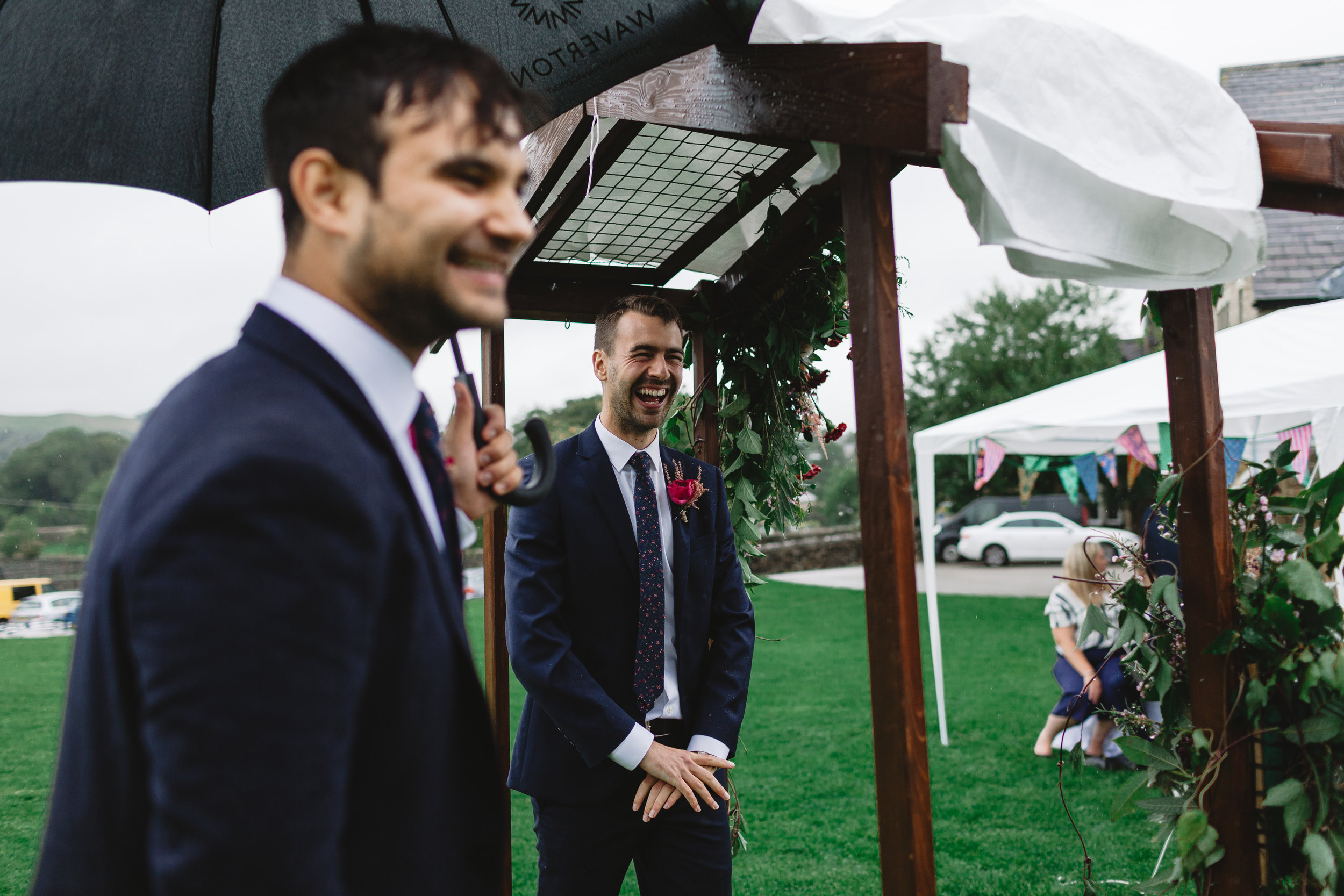Photography from a North Yorkshire Wedding, Leeds, romantic, outdoor ceremony, DIY wedding, skipton, candid, relaxed fun photographer Groom