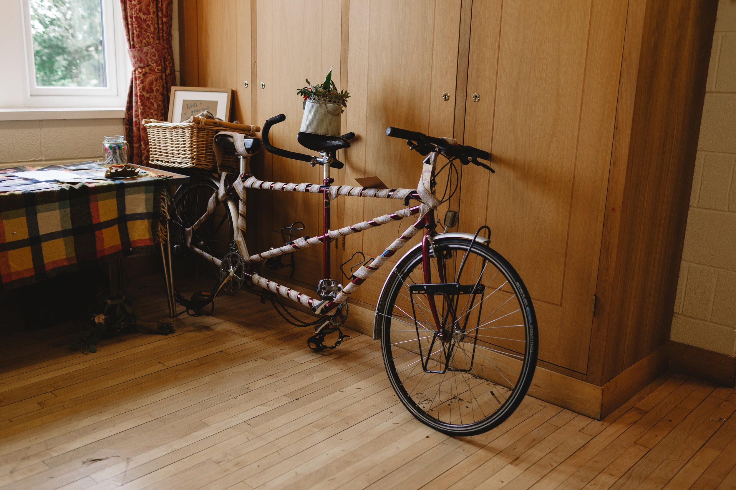 Tandem bike at north yorkshire wedding