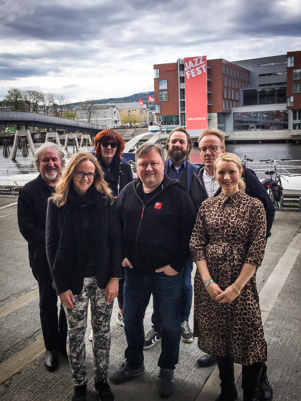 Trondheim Jazzfestivals styre 2019. Fra venstre: Tore Flesjø, Monica Rolfsen (styreleder), Venke Aarethun, Geir Jarle Sirås, Arnfinn Stendal Rokne (nestleder), Jens Storli og Karianne Tung.