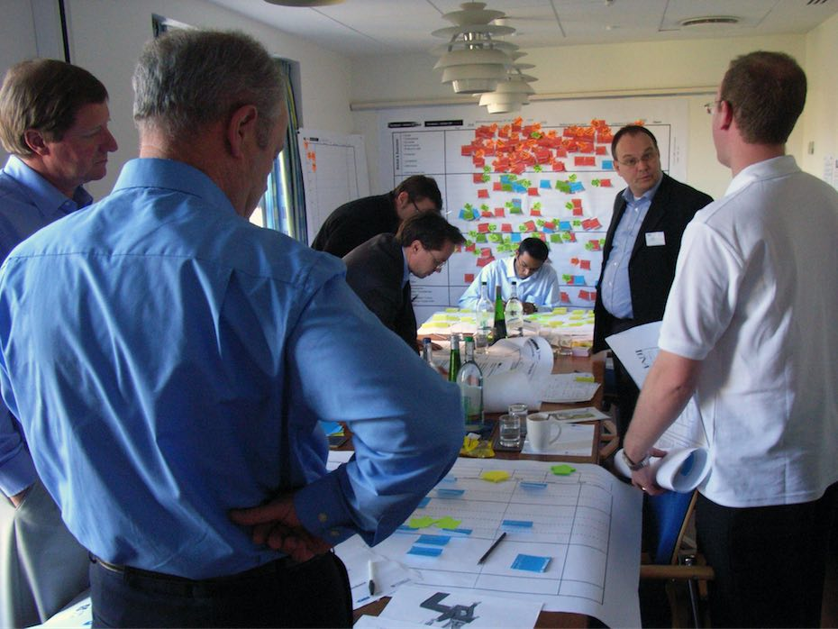 Roadmapping used to guide strategic dialogue in a multi-divisional corporate innovation workshop, with participants empowered with paper, pens & post-it notes
