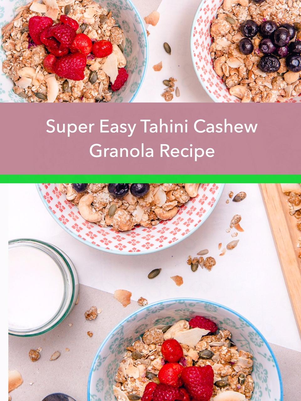 super easy tahini cashew granola recipe