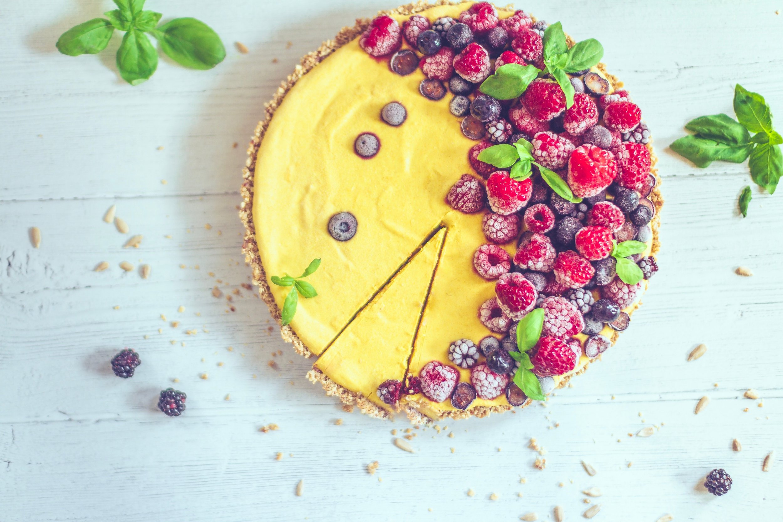 raspberry coconut fruit tart