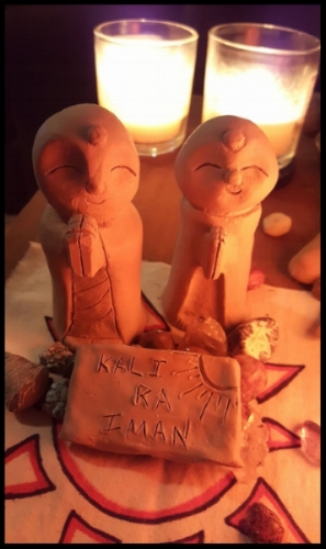 Handmade Jizo statues my partner and I created with clay in honor of our beloved Kali Ra.