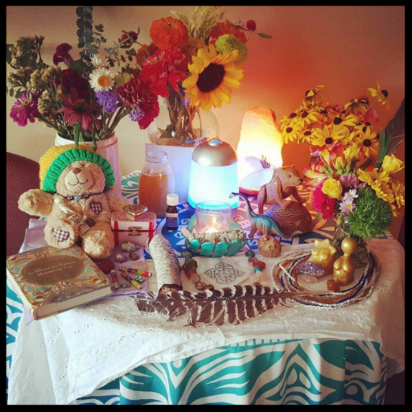 Photo of the altar I assembled in my hospital recovery room on the day of Kali's transition ceremony.