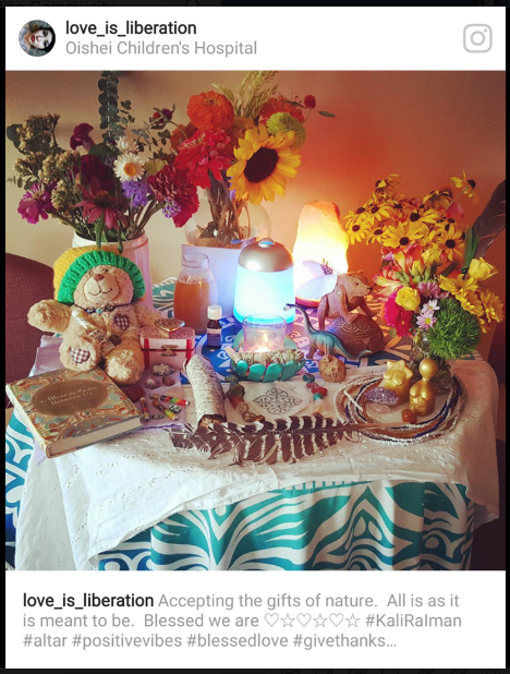 Photo of the altar I created in my hospital room the day life support was to be removed from my beloved Kali Ra.